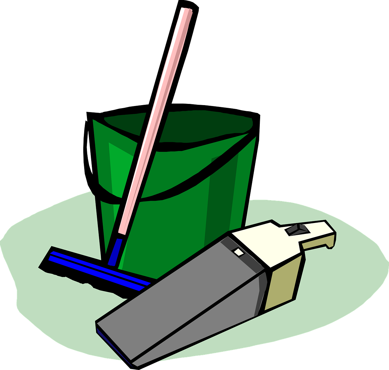 bucket, cleaning, supplies